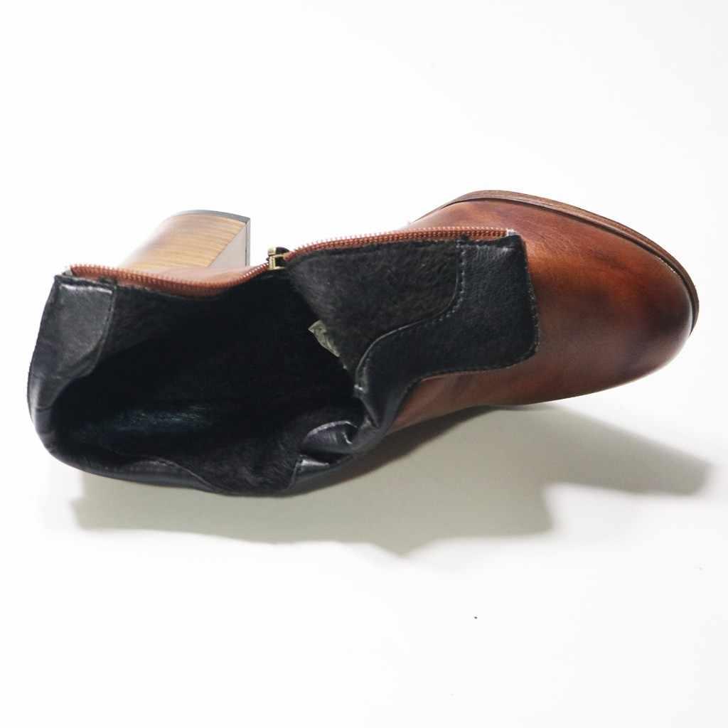 Braun Stiefel für Mode Frauen Winter Platz wurzel Heels Zipper Solide Farbe Kurze Booties Flach Runde Kappe Schuhe chaussures femme
