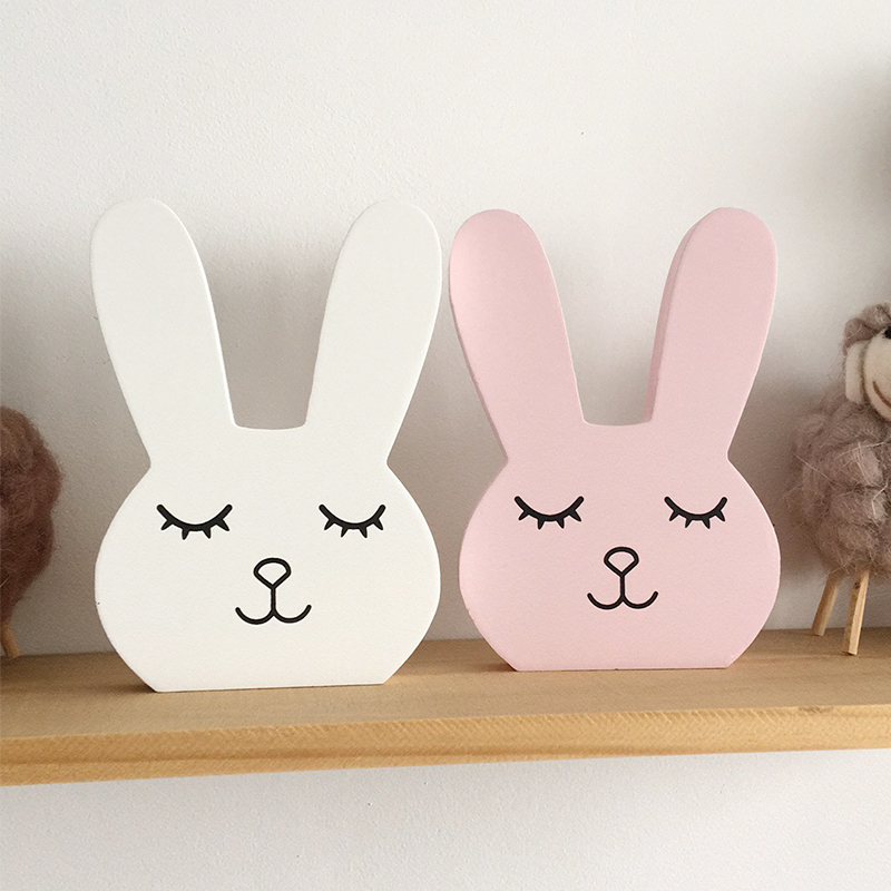 Скандинавский декор для детской комнаты, деревянная Фигурка кролика, декор для детской комнаты, декор для детской комнаты для девочек, Скандинавское украшение для дома