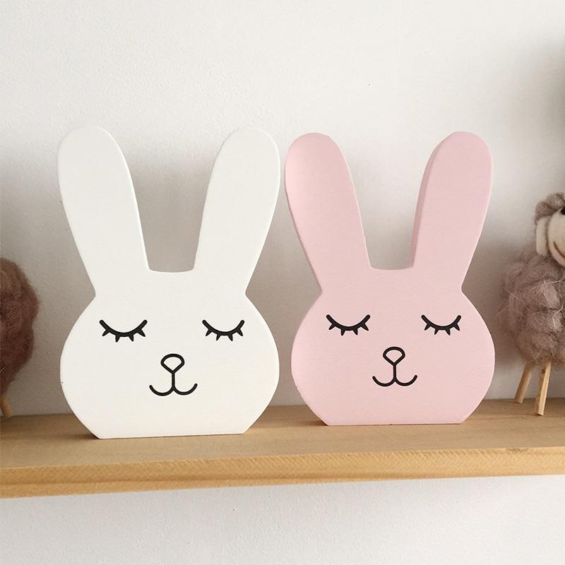 Nordic Nursery Decor Wooden Bunny Figurine Kids Room Decor Scandiniavian Children Girl Room Decor Nordic Home Decoration