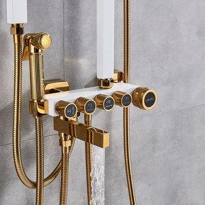 Image 2 - Juego de grifería de ducha de oro blanco de lujo, 5 funciones, montaje en pared, cabezal de ducha de lluvia con ducha de mano, caño de bañera, grifo mezclador de bidé