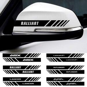 2 pçs à prova dwaterproof água espelho retrovisor do carro adesivo para mitsubishi ralliart lancer asx outlander pajero l200 estilo do carro acessórios