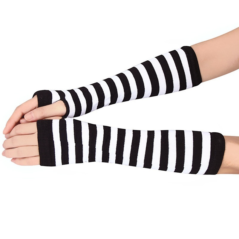 Lady Stretchy Soft Knitted Wrist Arm Warmer Long Sleeve Fingerless Gloves Striped FEA889