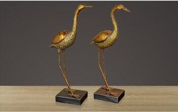 antique copper Crane statue Couples cranes furniture art resin artwork craft sculpture wedding decoration home Furnishing a0185
