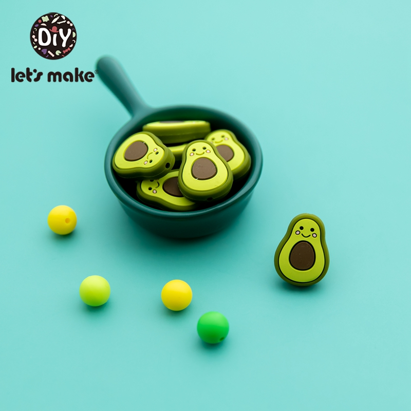 Let's Make BPA Free 5pc Silicone Beads For Necklaces BPA Free Baby Teether Avocado Teething Beads Silicone Teether Toy For Kids