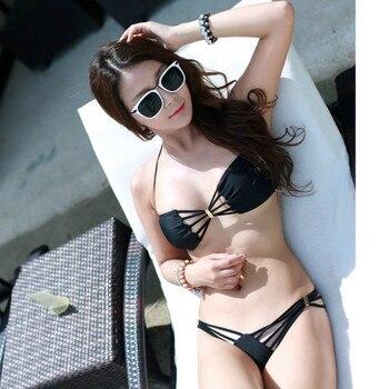 Black Sexy Bikini Mini Push Up Swimwear Women Multi-Lanyard Hollow Out Triangle Bikini Thong Biquinis 2020 Mujer Bathing Suit 4