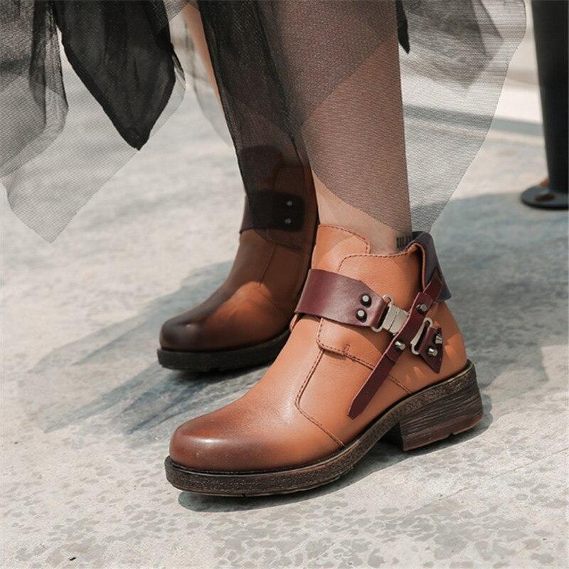 Mabaiwan Mode Nieten Frau Stiefeletten Braun Echtes Leder Zipper Warme Schuhe Frauen Winter Herbst Niet Retro Kurze Stiefel - 2