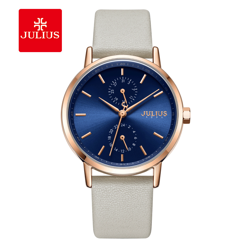 Julius Brand Simple White Leather Women Watch Simple Sun Pattern Dial Waterproof Watch Fashion Casual Quartz Watch Female