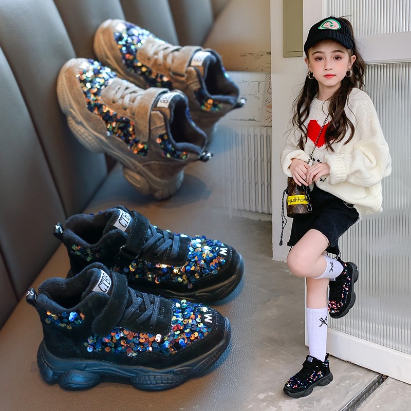 AAdct girls shoes new 2019 winter cotton warm little kids shoes for girls running sports children casual shoes sneakers fashion|  - title=