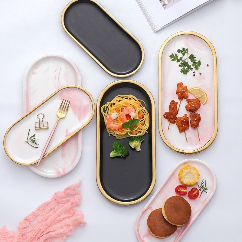 Gold Plating Marble Storage Tray Ceramic Europe Charger Plates Food Fruit Dessert Oval Dish Jewelry Tray Decoration Platter
