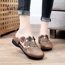 2020 Slippers Women Summer Flip Flops Genuine Leather Flats Shoes Ladies Flat Slippers Vintage Outside Women Flip Flops S2111