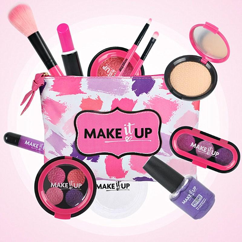 12 Pcs Kids Makeup Set Eyeshadow Lipstick Blush Nail Polish Makeup Toy Cosmetic Bag Simulation Play House Toy Birthday Gift