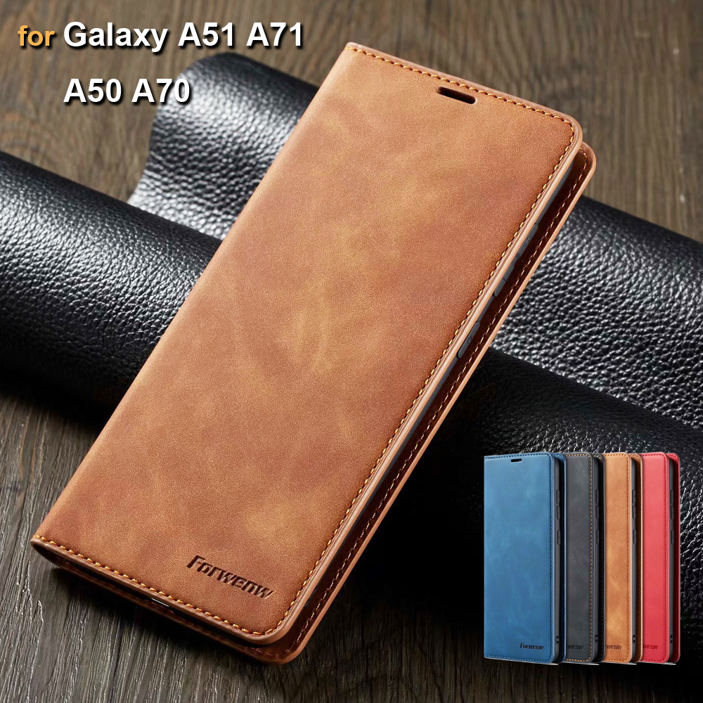 Leather <font><b>Case</b></font> for <font><b>Samsung</b></font> <font><b>Galaxy</b></font> A51 A71 <font><b>A70</b></font> A50 <font><b>Case</b></font> Retro Magnetic <font><b>Flip</b></font> Wallet Cover for <font><b>Samsung</b></font> A50 <font><b>A70</b></font> A51 A71 <font><b>Cases</b></font> image