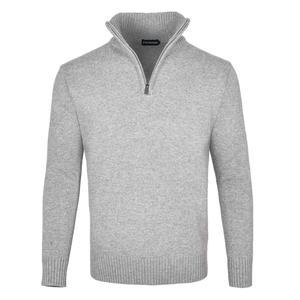 FEINION Men's Polo Sweater Rib Knit Half