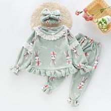 Осенне-зимние пижамные комплекты для девочек, пижама, костюм для сна, плотная теплая ночная рубашка, Корейская Пижама с рисунками животных для девочек-подростков, От 3 до 12 лет