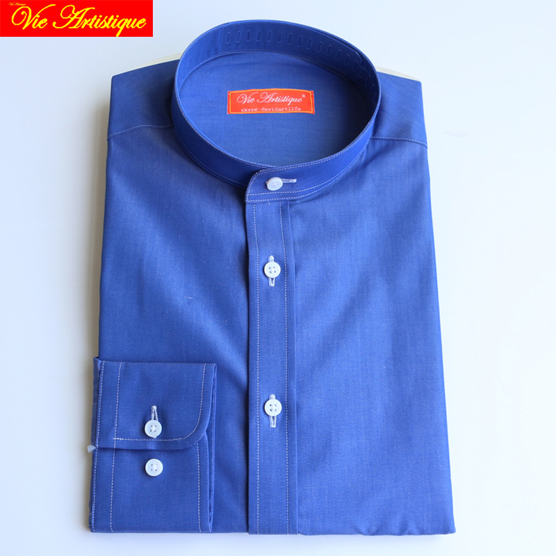 Custom Tailor Made Men's Bespoke Dress Shirts Business Formal Wedding Blouse Bespoke Blouse 100% Cotton Royal Blue Free Ship