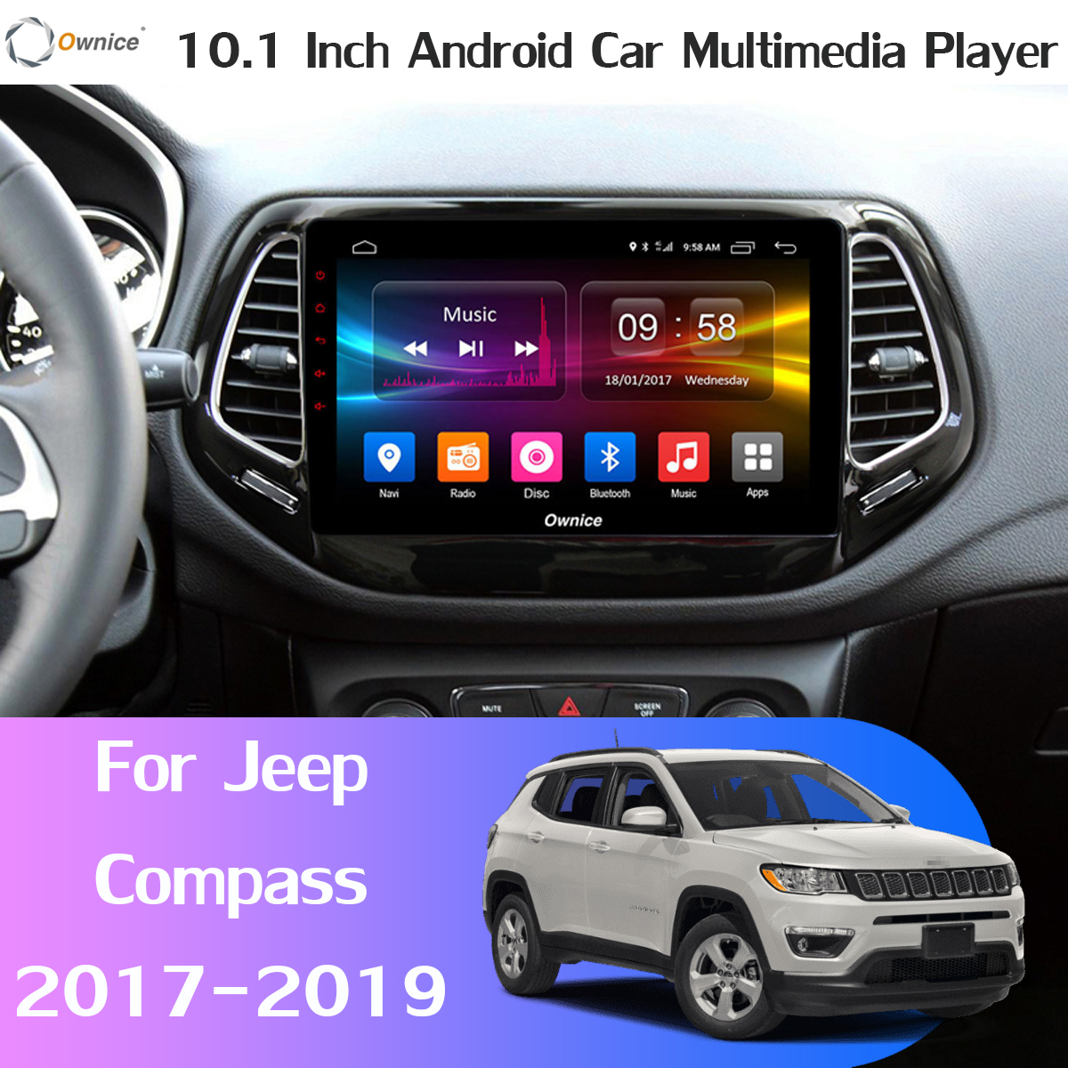 360° Panoramic 4G+64G Android 9.0 Car Multimedia Player for Jeep Compass 2017 2018 2019 Car GPS Navigation Radio CarPlay SPDIF