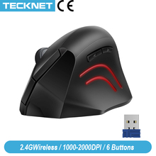 Ratón inalámbrico Vertical TeckNet, 2,4 GHz, Nano ergonómico, óptico, 3 niveles ajustables, 2000/1200/800DPI, ratón para ordenador