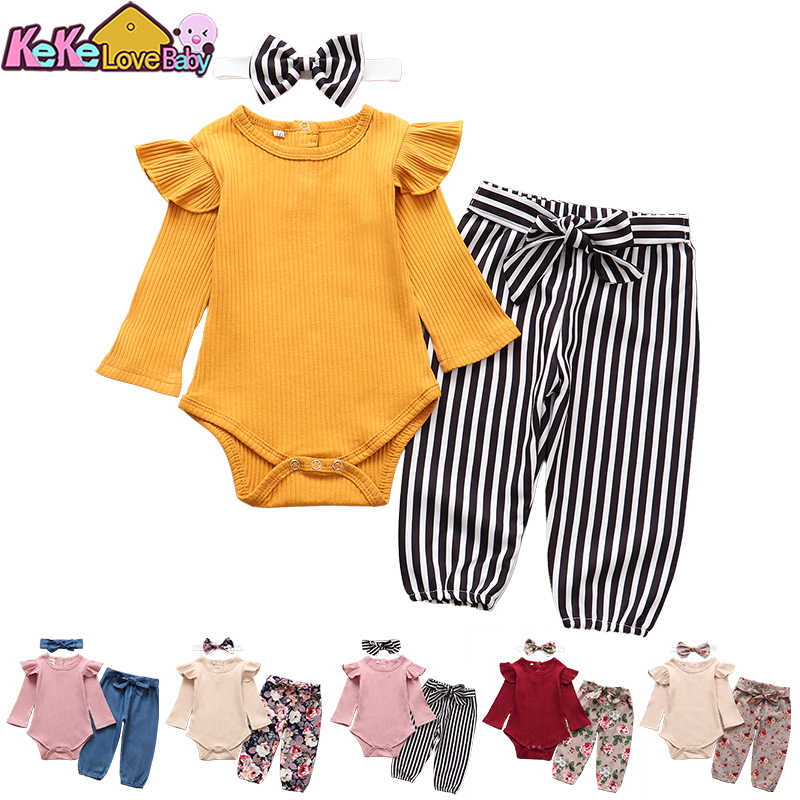 UK Newborn Baby Girl Infant Stripe 2pcs Clothes Romper Bodysuit Pants Outfit