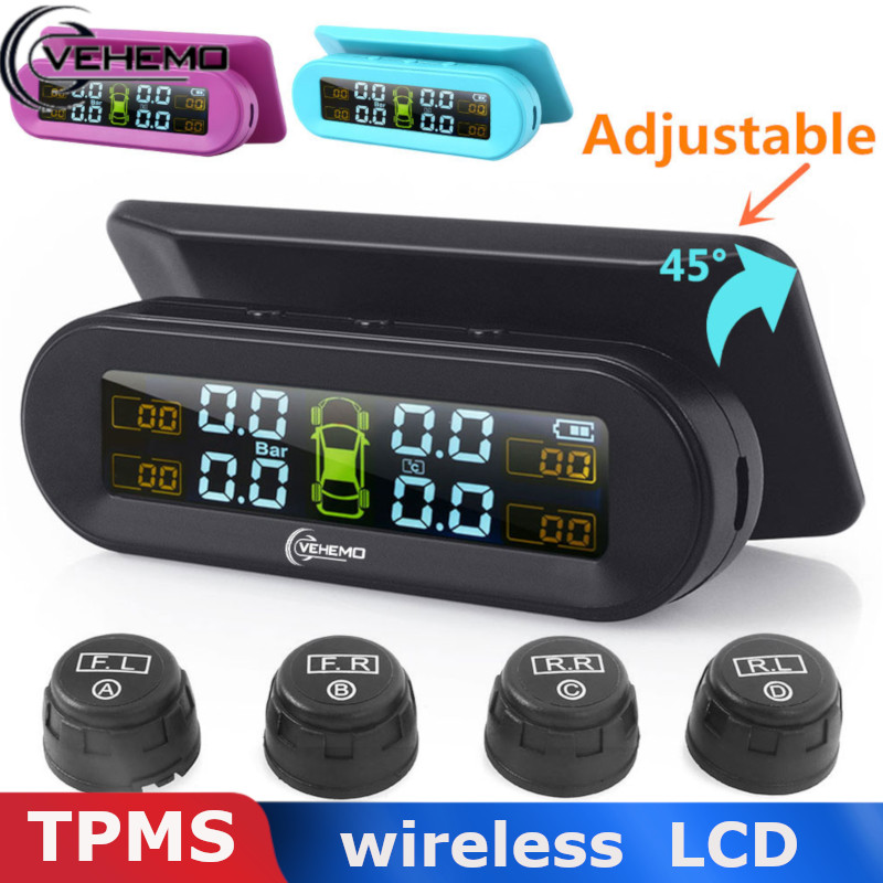 Vehemo Wireless USB TPMS Tire Pressure External Sensor Type Real-Time Display Car Alarm Digital Dashboard Android Tmps Tyre