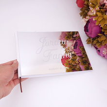 25x18cm Custom Wedding Signature Guest Book Acrylic Mirror White Blank Front Cover Books Bride Groom Favors Gift