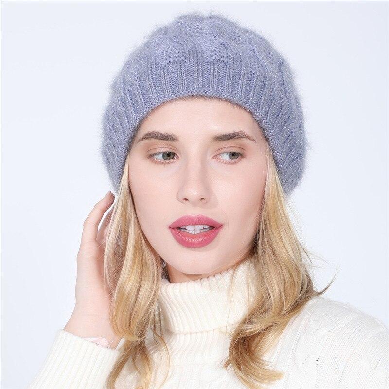 Tj-tianjun feminino chapéu de malha de pelúcia e engrossar manter quente oito caráter torção cor sólida toque ao ar livre esqui ciclismo 2020 novo