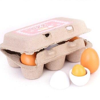 Simulación de yema de huevo de madera, 6 uds., juguetes para juego...