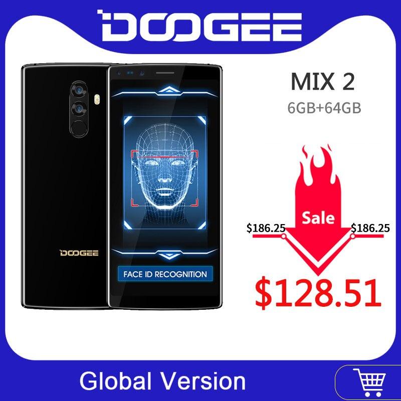 Original DOOGEE Mix 2 Android 7.1 4060mAh 5.99 ''FHD + Helio P25 Octa Core 6GB RAM 128GB ROM Smartphone Quad caméras 16.0 + 13.0MP