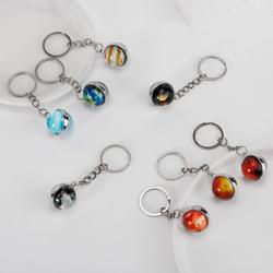 9PC Solar System Planet Keychain Keyring Galaxy Nebula Space Key Chain Moon Earth Sun Art Picture Double Side Glass Ball Keyring