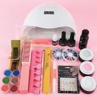 COSCELIA UV Gel Kit Nail Art 80W UV Nail Dryer Lamp 3PC UV Gel+6PC Glitter Powders Manicure Tools DIY Kit