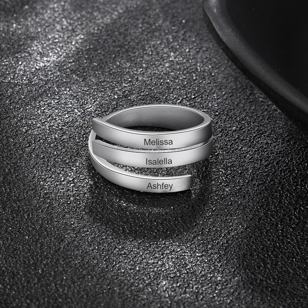 Personalized Adjustable Ring Stainless Steel Spiral Twist Engraved Name Rings Promise Band For Men Women BFF Gift Jewelry