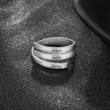 Personalized Stainless Steel Engraved Name Rings Spiral Twist Adjustable Promise Ring Band For Men Women BFF Gift Jewelry