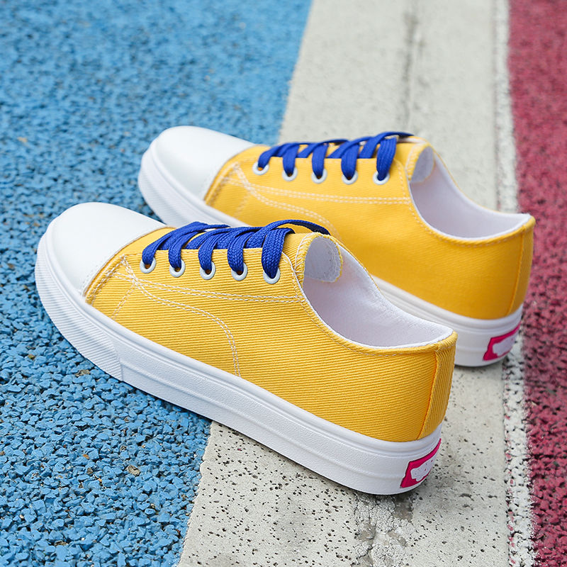Vulcan Shoes Girls Student School Sneakers Women Canvas Shoes 2019 Fasion Solid Yellow Woman Sport Shoes