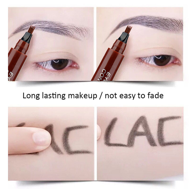 Eyebrow Enhancer With Stencil Eyes Natural Long Lasting Paint Make Up Tools Cosmetics Waterproof Black Eyebrow Pencil TSLM1 5