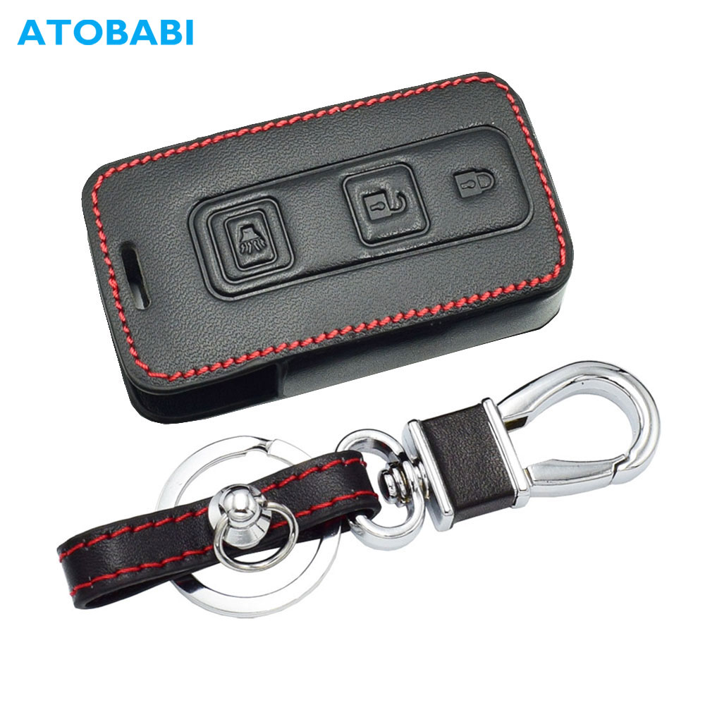 Leather Car Key Case For Toyota Prius 2004-2009 3 Buttons Smart Keyless Remote Fob Protect Cover Keychain Bag Auto Accessories