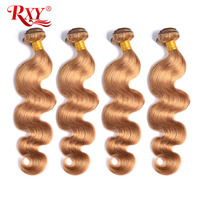 RXY Honey Blonde Brazilian Hair Weave Bundles Body Wave 1/3/4pcs #27 Color 100% Human Hair Bundles Remy Hair Weaves Extension