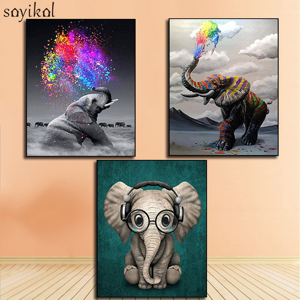 DIY Paint By Number Art Painting By Numbers Elephant Realism Handmade Amusing Living Room Decorative Hanging Animal Pictures
