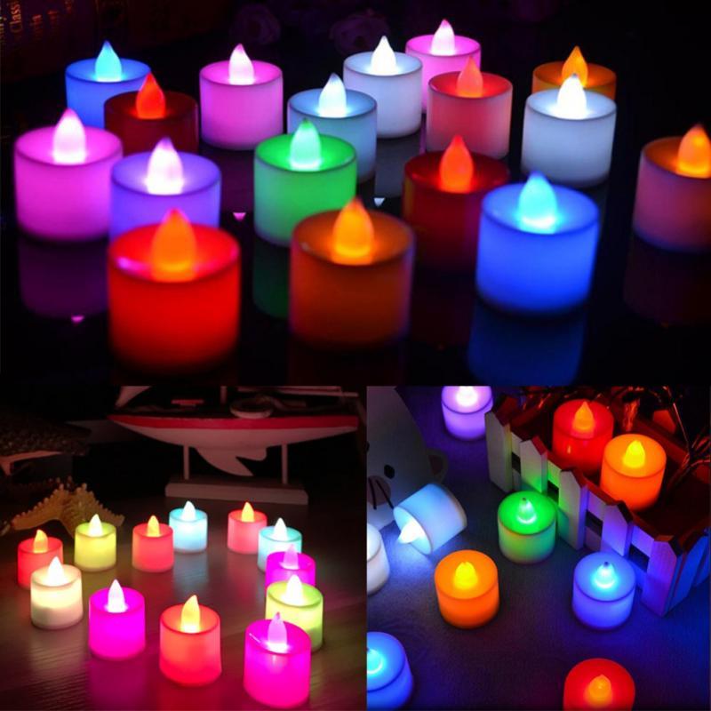 Romantic LED Candle Lamp Light Flameless Simulation Tea Light Valentine Day Wedding Candle Birthday Party Christmas Decoration