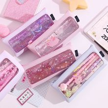 Transparent Cartoon Quicksand Leather Pencil Case Travel Make Up Cosmetic Bag School Supplies Stationery Girls Gift