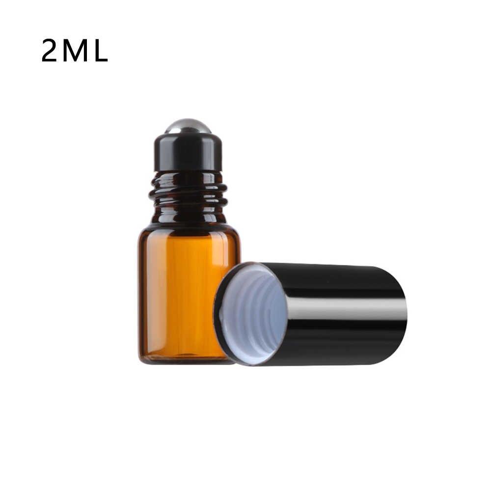 1/2/3/5/10ML botella ámbar rodillo de Perfume Bola de viaje vacío contenedor de aceite esencial botella recargable de Material de vidrio