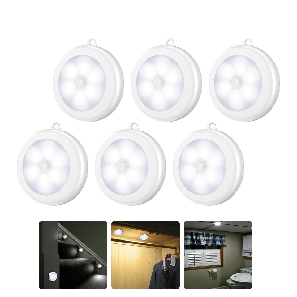 Wireless Motion Sensor LED Night Light 6LEDs 3LEDs Touch Press Under Cabinet Lights Closet Light Wardrobe Night Lamp For Kitchen