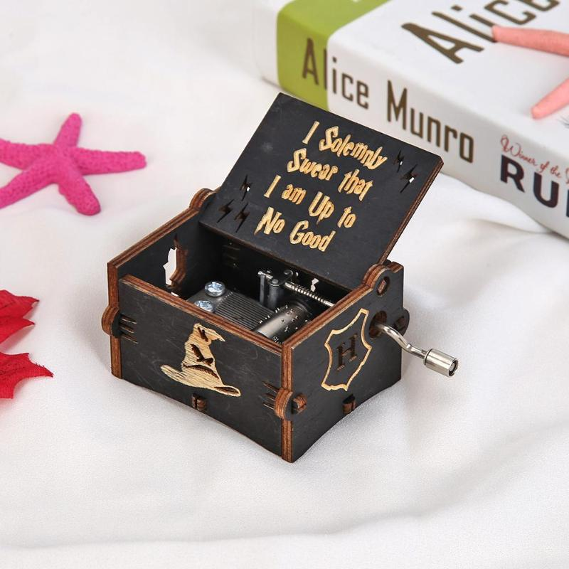 Antique Music Box Vintage Wooden Hand Cranked Music Box Retro Home Ornaments Crafts Theme Music Box Kids Christmas Gift