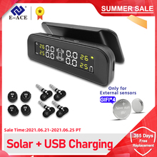 E ACE TPMS Car Tire Pressure Alarm Monitor System Display Intelligent Temperature Warning with 4 Sensors Solar Power Charging