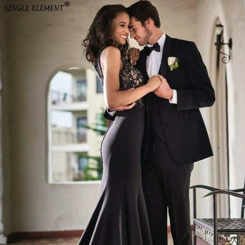 SINGLE ELEMENT Mermaid Black Beaded And Lace Long Evening Dress