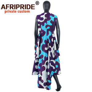 Image 3 - hot sale african dress for women AFRIPRIDE private custom sleeveless pleated party dress 100% pure wax cotton A722582