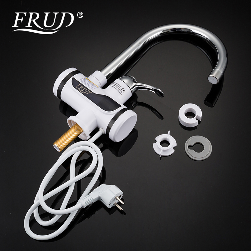 FRUD Water Heater Tap Kitchen Faucet Instantaneous Water Heater Shower Instant Heaters Tankless Water Heating Tap With LED