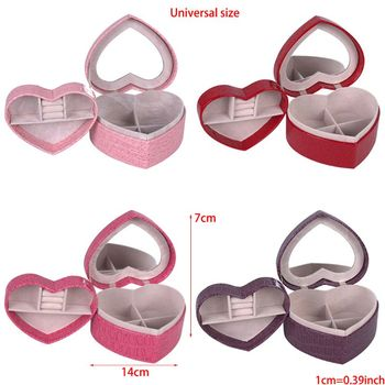 PU Heart Shaped Leather Jewelry Box Double Layers With Mirror for