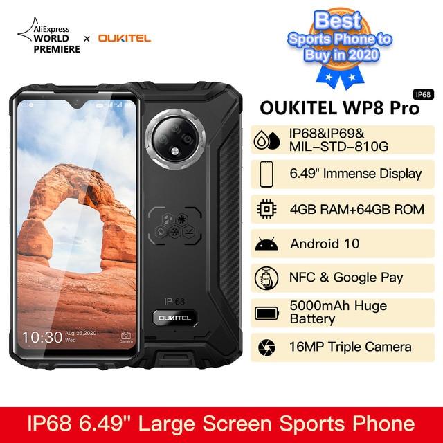 OUKITEL WP8 Pro Rugged 4G Smartphone 4GB 64GB 5000mAh Octa Core Mobile Phone NFC 16MP Triple Camera 6.49'' Android10 Smart Phone 2