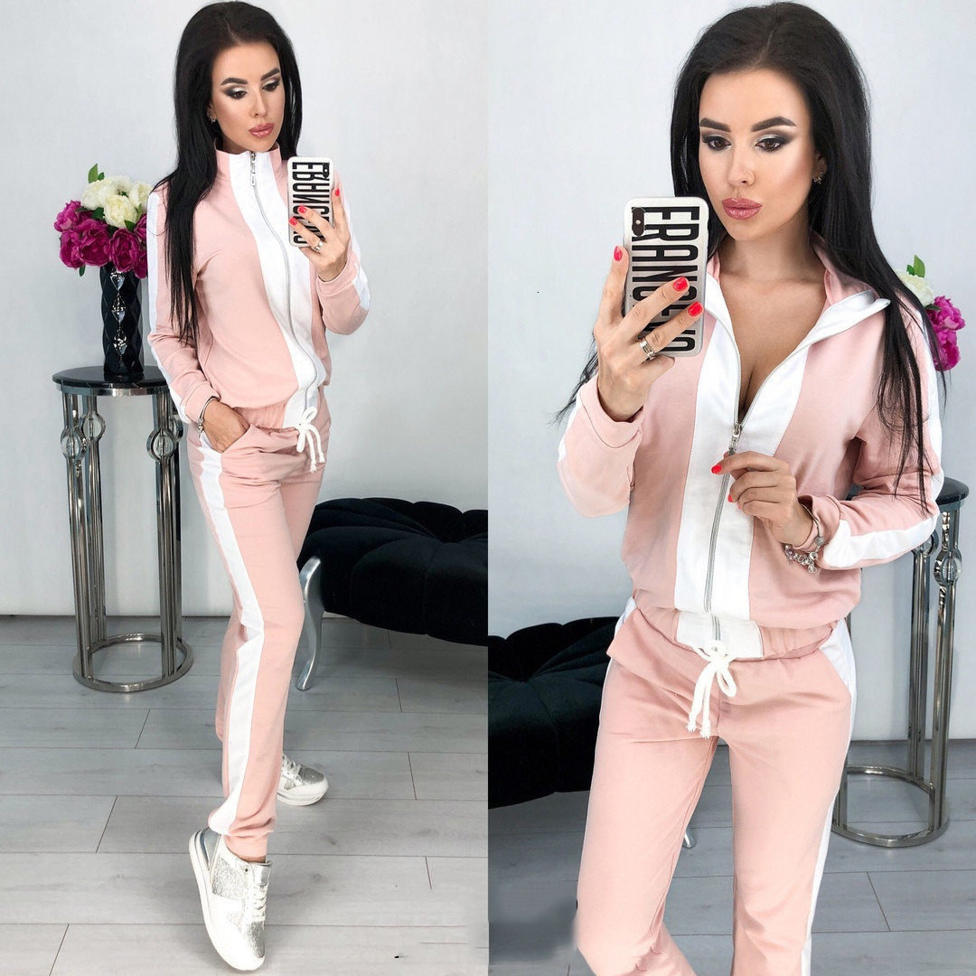 2 Piece Set Tracksuit For Women Outfits Zipped Top Pant Suit Sportsuits Winter Spring Dres Damski Clothing Chandal Mujer