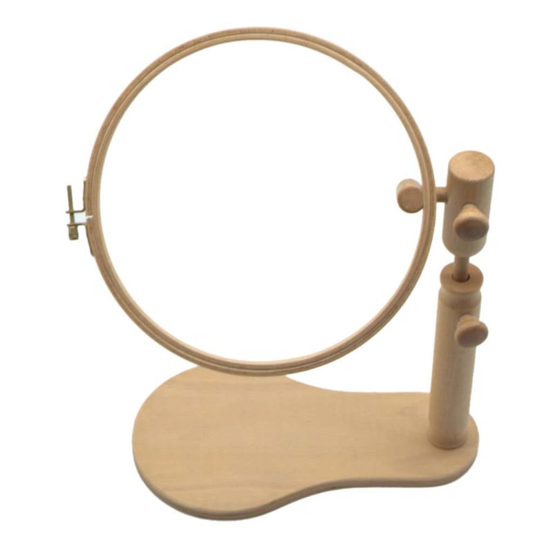 Image 3 - Wood Embroidery Hoop Stand Cross Stitch Needlework Ring Frame Sewing Tool Adjustable 35 45cmSewing Tools & Accessory   -