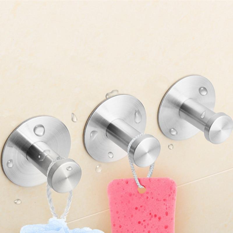 4шт из нержавеющей стали крюк non-выскальзования non-маркировки самоклеящиеся крюка ногтя-бесплатная одежда крючок для ванной кухня стены